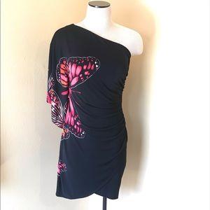 BISOU BISOU One shoulder Dress Sx 6 Butterfly